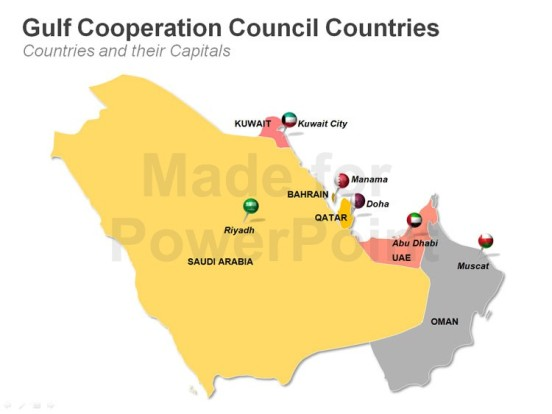 capital-ppt-map-of-gulf-cooperation-council-countries