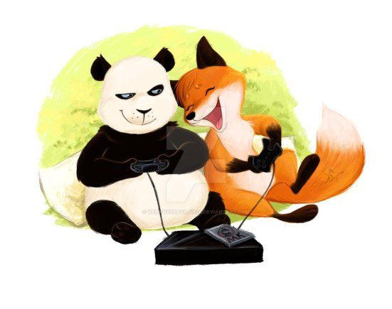 panda_and_fox__play_video_games_xd_by_yankovskayajulia-d99ws5v
